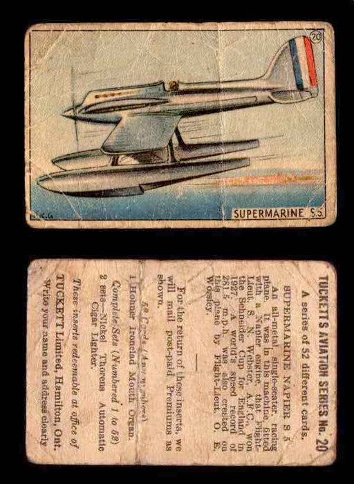 1929 Tucketts Aviation Series 1 Vintage Trading Cards You Pick Singles #1-52 #20 Supermarine Napier S 5  - TvMovieCards.com