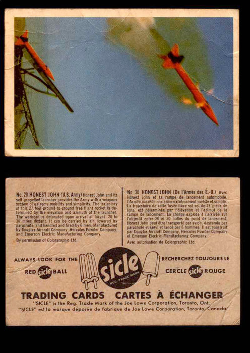 1959 Sicle Aircraft & Missile Canadian Vintage Trading Card U Pick Singles #1-25 #20 Honest John  - TvMovieCards.com