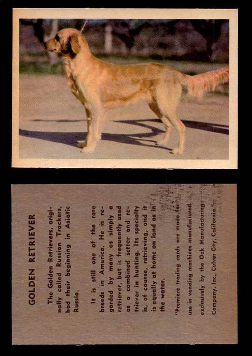 1957 Dogs Premiere Oak Man. R-724-4 Vintage Trading Cards You Pick Singles #1-42 #20 Golden Retriever  - TvMovieCards.com