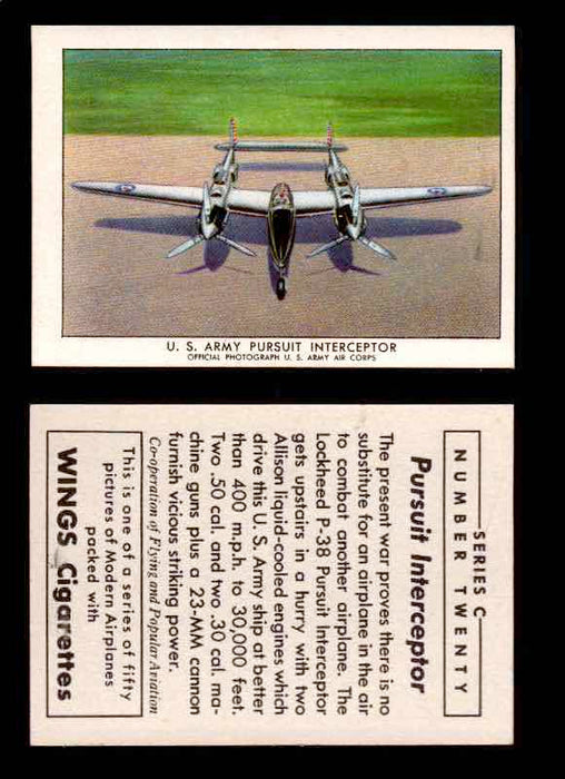 1942 Modern American Airplanes Series C Vintage Trading Cards Pick Singles #1-50 20	 	U.S. Army Pursuit Interceptor  - TvMovieCards.com