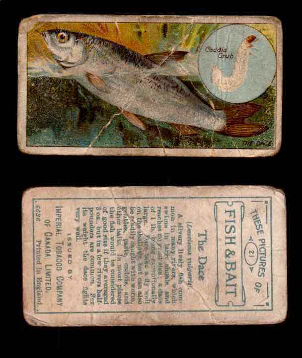 1910 Fish and Bait Imperial Tobacco Vintage Trading Cards You Pick Singles #1-50 #21 The Dace  - TvMovieCards.com