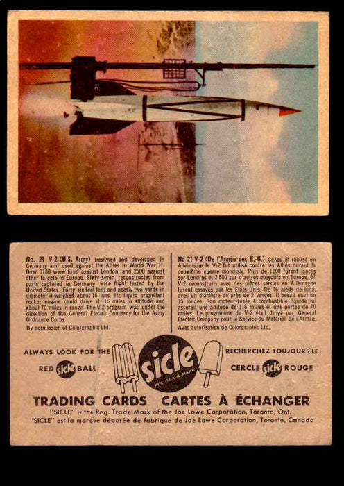 1959 Sicle Aircraft & Missile Canadian Vintage Trading Card U Pick Singles #1-25 #21 V-2  - TvMovieCards.com