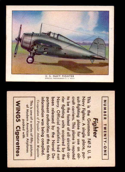 1940 Modern American Airplanes Series 1 Vintage Trading Cards Pick Singles #1-50 21 U.S. Navy Fighter (Grumman F4F-2)  - TvMovieCards.com