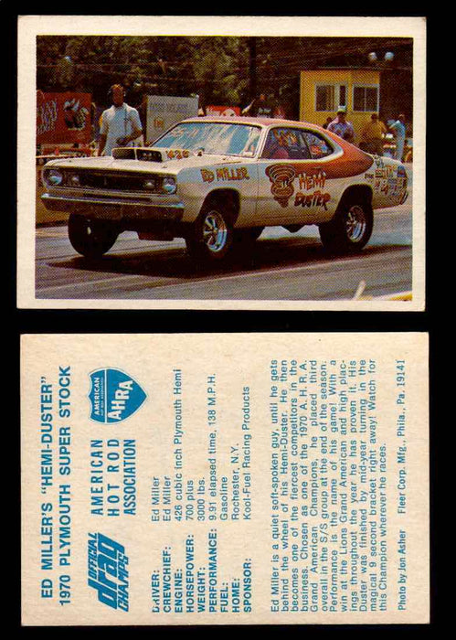 "AHRA Official Drag Champs 1971 Fleer Vintage Trading Cards You Pick Singles 21   Ed Miller's ""Hemi-Duster""                        1970 Plymouth Super Stock  - TvMovieCards.com"