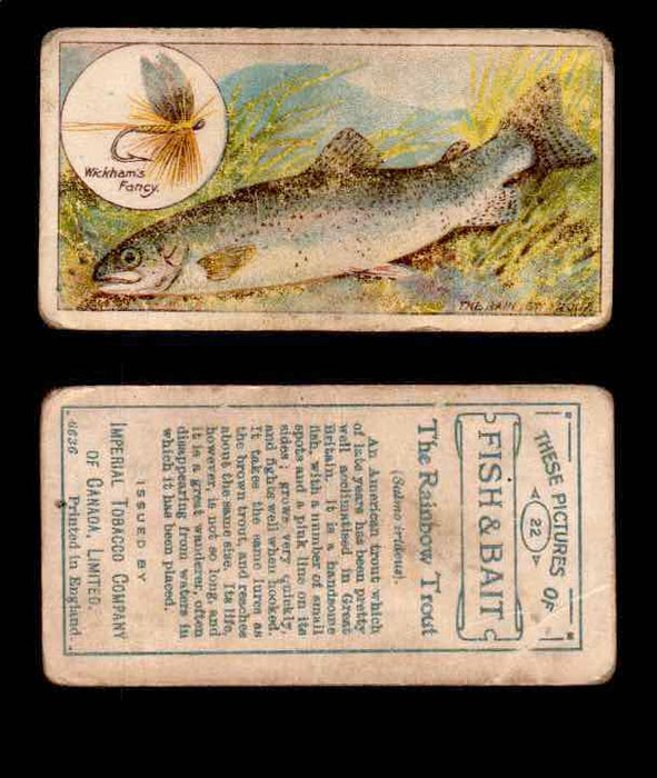 1910 Fish and Bait Imperial Tobacco Vintage Trading Cards You Pick Singles #1-50 #22 The Rainbow Trout  - TvMovieCards.com