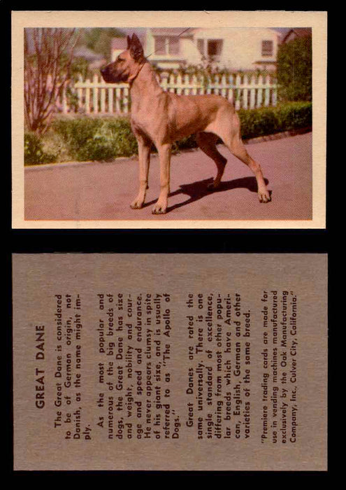 1957 Dogs Premiere Oak Man. R-724-4 Vintage Trading Cards You Pick Singles #1-42 #22 Great Dane  - TvMovieCards.com