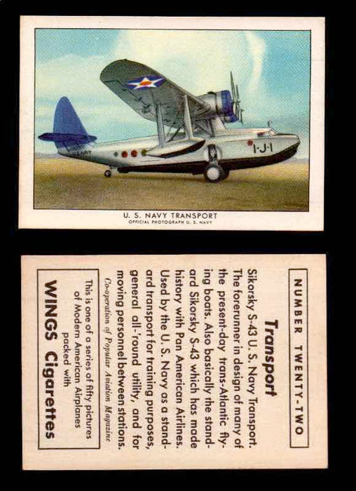 1940 Modern American Airplanes Series 1 Vintage Trading Cards Pick Singles #1-50 22 U.S. Navy Transport (Sikorsky S-43)  - TvMovieCards.com