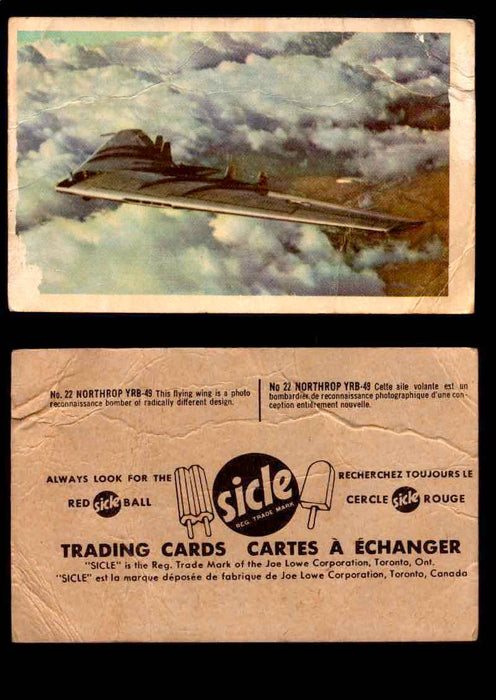 1959 Sicle Aircraft & Missile Canadian Vintage Trading Card U Pick Singles #1-25 #22 Northrup YRB-49  - TvMovieCards.com