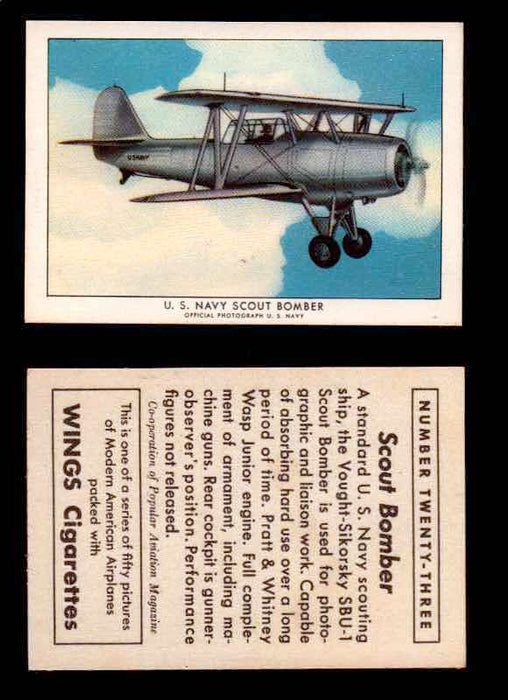 1940 Modern American Airplanes Series 1 Vintage Trading Cards Pick Singles #1-50 23 U.S. Navy Scout Bomber (Vought-Sikorsky SBU-1)  - TvMovieCards.com