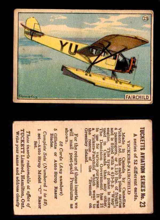 1929 Tucketts Aviation Series 1 Vintage Trading Cards You Pick Singles #1-52 #23 Vickers-Fairchild  - TvMovieCards.com
