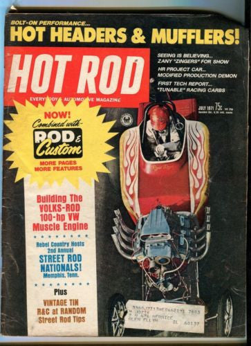 1971 July Hot Rod Magazine Back Issue - Volks-Rod 100 HP VW Muscle Engine