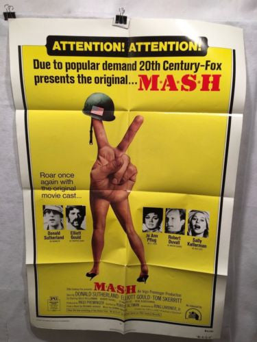 "Original 1973 ""Mash"" One Sheet Rerelease Movie Poster 27x41 SUTHERLAND GOULD   - TvMovieCards.com"