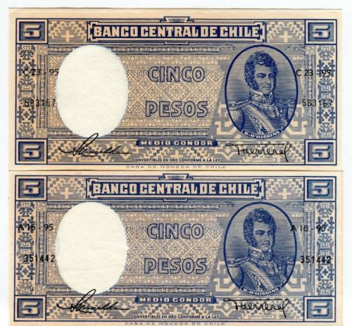 1958-59 Banco Central De Chile 5 Pesos Banknote Pick 119   - TvMovieCards.com