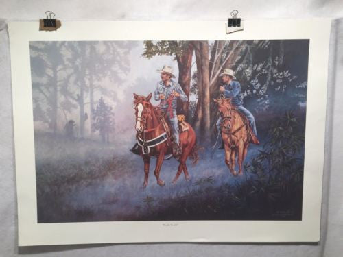 "Vintage Western Wayne Hovis Print ""Double Trouble"" Signed Numbered 10/500   - TvMovieCards.com"