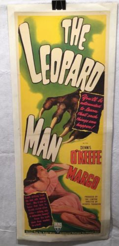 Original 1943 The Leopard Man Half Sheet Movie Poster 14 x 36 Linen Backed   - TvMovieCards.com