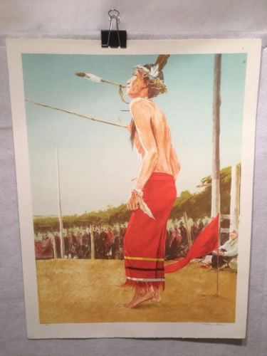 "Vintage Western Indian Artwork ""The Dancer"" William Nelson Signed Artist Proof   - TvMovieCards.com"
