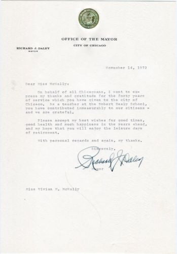 Richard J Daley Chicago Mayor Signature Letter November 14, 1972   - TvMovieCards.com