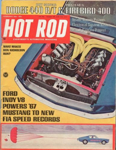 1967 February Hot Rod Magazine Back Issue - Dodge 440 R/T & Firebird 400   - TvMovieCards.com