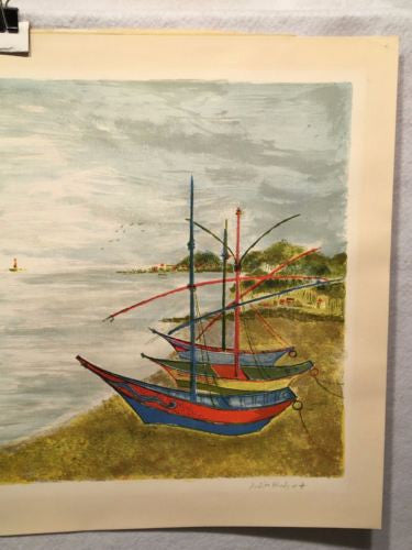 Judith Bledsoe Signed Lithograph Print - Sail Boats In Small Harbor   - TvMovieCards.com