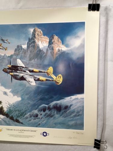 Tribute to Lockheed Classic - Heinz Krebs Aviation Art Print P-38 Lightning   - TvMovieCards.com