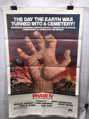 "Original 1973 ""Phase IV"" 1 Sheet Movie Poster 27""x 41"" Nigel Davenport   - TvMovieCards.com"