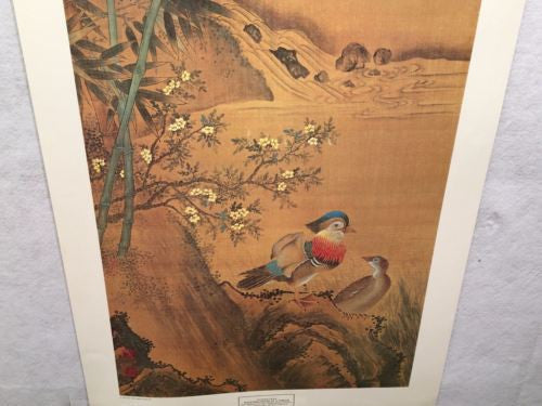 Vintage Chinese Artist Mandarin Ducks by a Stream New York Graphic Society Print   - TvMovieCards.com