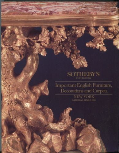 Sotheby's Auction Catalog April 7th 1990 - English Furniture Decorations Carpets   - TvMovieCards.com
