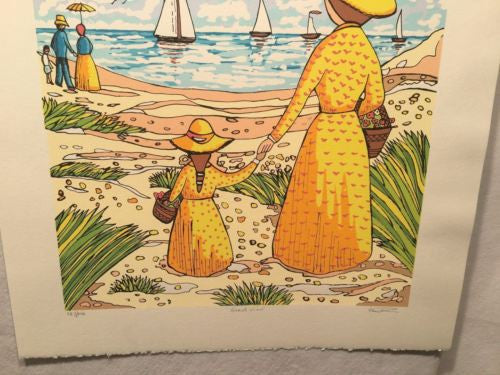 "Vintage Lithograph Print ""Beach View"" Sailboats Mother & Child Signed Numbered   - TvMovieCards.com"