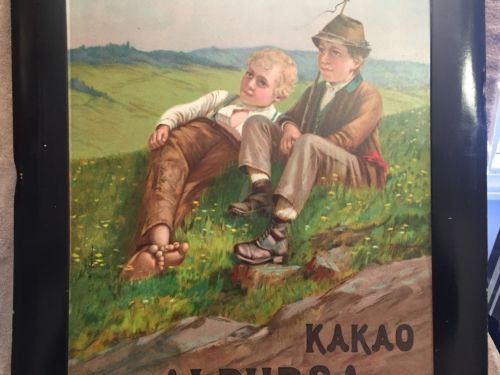 Antique 1910 Kakao Alpursa Tin Advertising Sign Germany Cocoa Bierlingwerke   - TvMovieCards.com