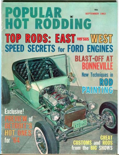 1963 September Popular Hot Rodding Magazine Back Issue - Top Rods Speed Secrets   - TvMovieCards.com