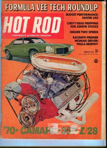 1970 March Hot Rod Magazine March Back Issue - 70+ Camaro 350 Z/28