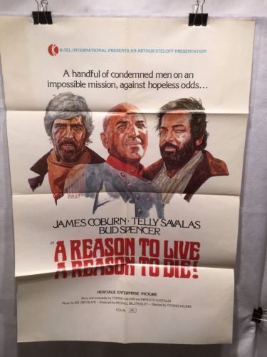 "Original 1972 ""A Reason to Live A Reason to DIe!"" 1 Sheet Movie Poster 27""x 41"""