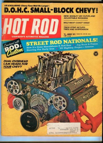 1971 August Hot Rod Magazine Back Issue - Street Rod Nationals - DOHC Chevy   - TvMovieCards.com