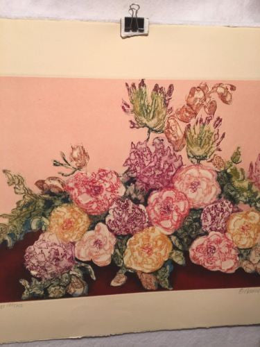 "Vintage 1982 Nancy E Bowen ""Printemps"" Flowers Print Signed Numbered 197/200   - TvMovieCards.com"