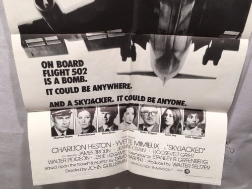 "Original 1972 ""Skyjacked"" 1 Sheet Movie Poster 27""x 41"" Charlton Heston   - TvMovieCards.com"