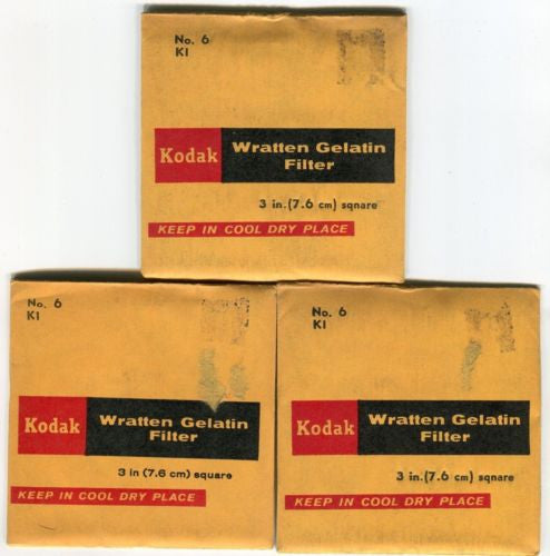 (3) Kodak No.6 KI WRATTEN Color Balance & ND Filter GEL For BOLEX ARRI AATON   - TvMovieCards.com