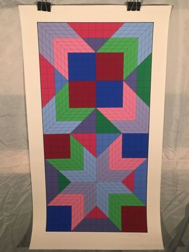 "1982 Victor Vasarely 1908-1997 ""Door"" Signed Numbered Serigraph Print 65/325   - TvMovieCards.com"