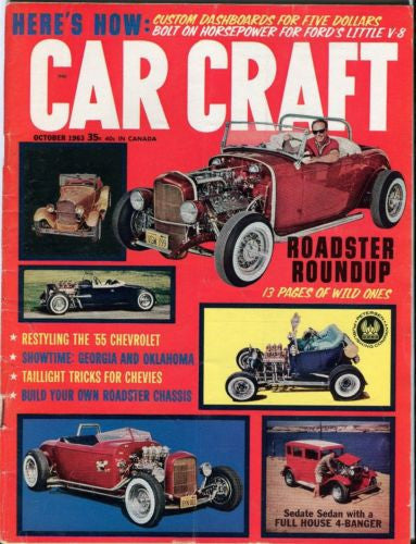 1963 October Car Craft Magazine Back Issue - Roadster Roundup   - TvMovieCards.com