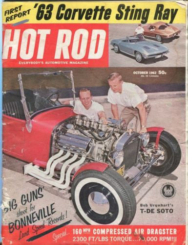 1962 October Hot Rod Magazine Back Issue - '63 Corvette Sting Ray   - TvMovieCards.com