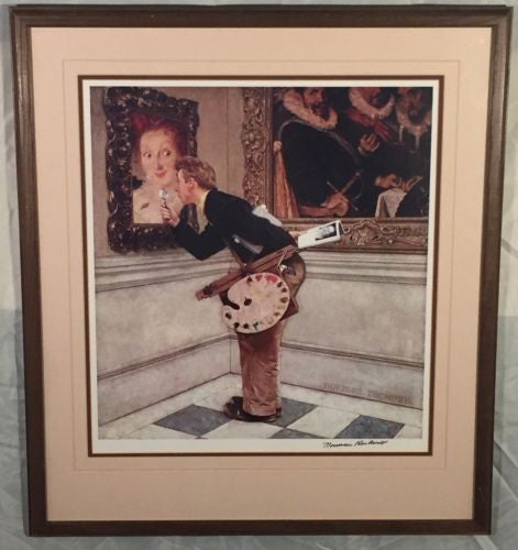 "Vintage Framed Norman Rockwell ""The Critic"" Art Hand SIGNED Print Black Ink   - TvMovieCards.com"