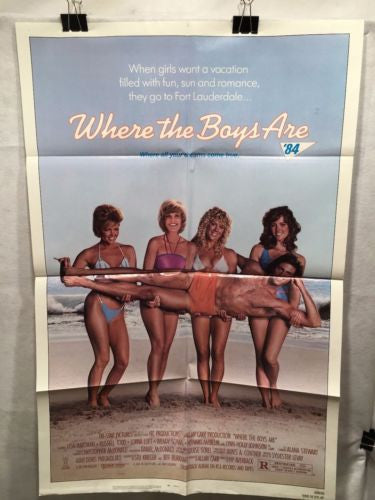 "Original 1984 ""Where the Boys Are"" 1 Sheet Movie Poster 27""x 41"" Lisa Hartman   - TvMovieCards.com"