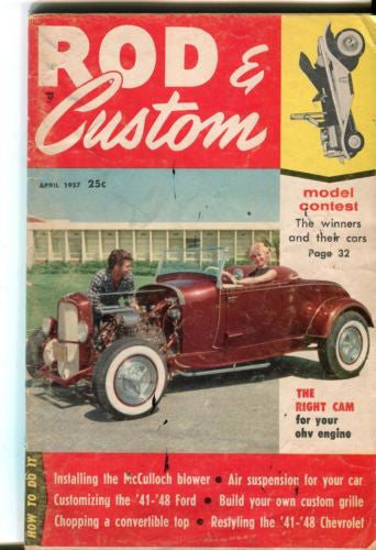 Rod & Custom April 1957 Digest Magazine The Right Cam for Your OHV Engine   - TvMovieCards.com
