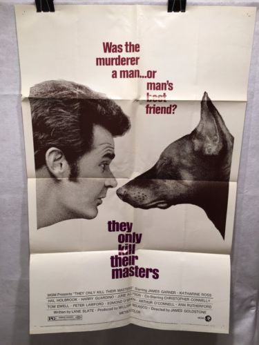 "Original 1972 ""They Only Kill Their Owners"" 1 Sheet Movie Poster 27x 41""Doberman"
