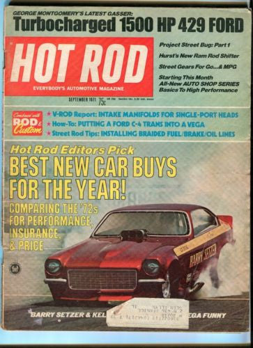 1971 September Hot Rod Magazine March Back Issue - Turbocharged 1500 HP 429 Ford   - TvMovieCards.com