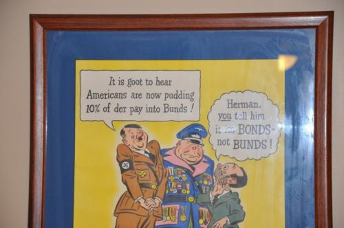 "1942 WWII US War Bond Poster Hitler Framed ""For Victory 10%"" 21"" x 16""   - TvMovieCards.com"