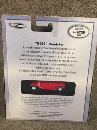 "100% Hot Wheels Diecast 1/64 Limited Edition ""0032"" Roadster Red with Black Top   - TvMovieCards.com"