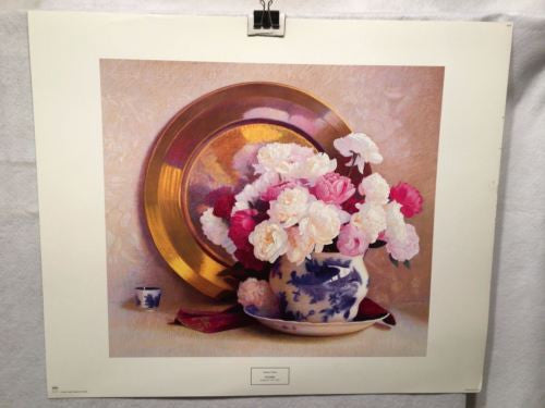Vintage Sidney F. Willis Peonies - New York Graphic Print   - TvMovieCards.com