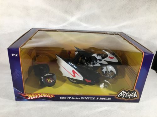 Hot Wheels Diecast Car 1:12 Batman 1966 TV Series Batcycle & Sidecar   - TvMovieCards.com