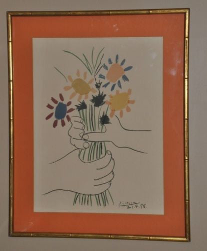 Pablo Picasso (1881-1973) Lithograph Hand with Flowers 1958 Arches Paper France   - TvMovieCards.com