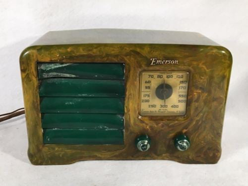 "Emerson ""Little Miracle"" Marbled Green White and Yellow Catalin Tube Radio AX235   - TvMovieCards.com"